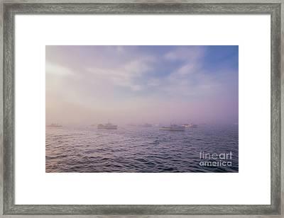 Hazy Sunset In Bar Harbor Maine Framed Print