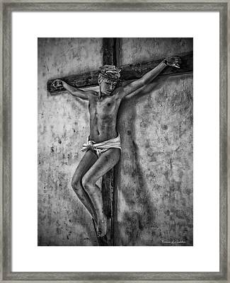 Hdr Crucifix In Black And White Framed Print