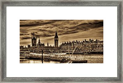 Hdr Sepia Westminster Framed Print by Andrea Barbieri