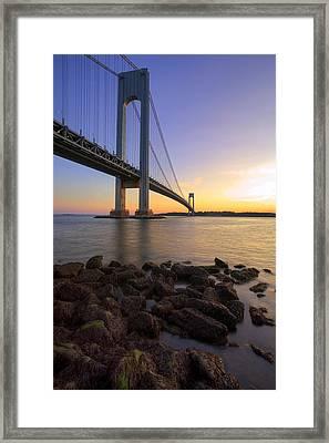Hdr Verrazano Bridge Sunset Framed Print by Samuel Kessler