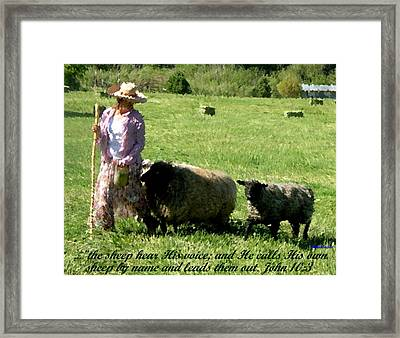 Framed Print featuring the painting He Calls His Own Sheep By Name by Anastasia Savage Ealy