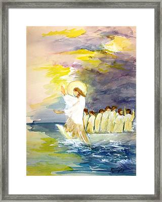 He Calms The Waters Framed Print by Mary Spyridon Thompson