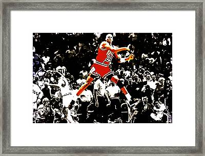 Michael Jordan Sweet Victory Framed Print by Brian Reaves