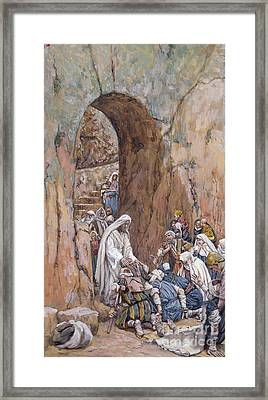 He Did No Miracles Save That He Healed Them Framed Print by Tissot