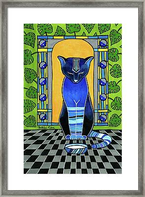 Framed Print featuring the painting He Is Back - Blue Cat Art by Dora Hathazi Mendes