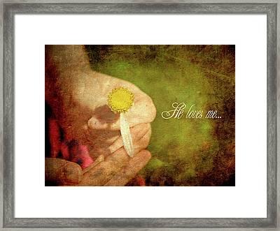 He Loves Me. Framed Print by Kelly Nelson