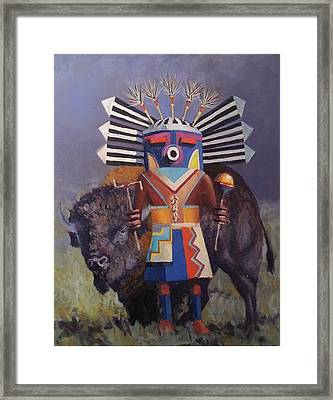 He Runs With The  Buffalo Framed Print