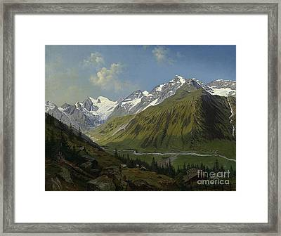 he valley of Ferleiten with the Wiesbachhorn in the Salzburg  Framed Print