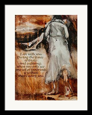 He Walks With Me Digital Art Framed Prints