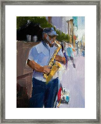He Was Playing Real Good For Free Framed Print by Merle Keller