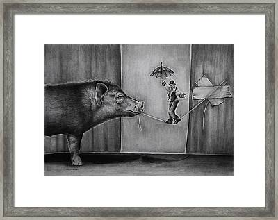 He Was Reaching The End Of His Rope Framed Print