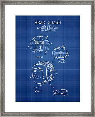 Head Guard Patent From 1924 - Blueprint Framed Print by Aged Pixel