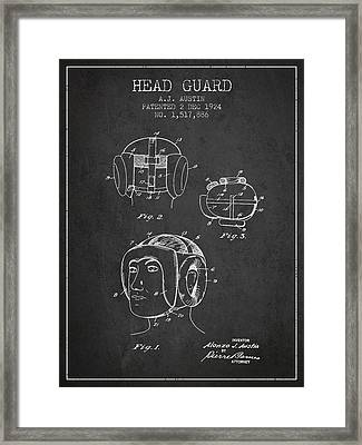 Head Guard Patent From 1924 - Charcoal Framed Print by Aged Pixel