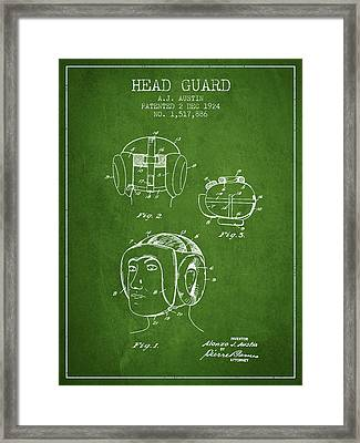 Head Guard Patent From 1924 - Green Framed Print by Aged Pixel