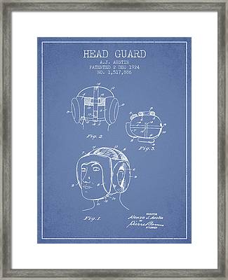 Head Guard Patent From 1924 - Light Blue Framed Print by Aged Pixel