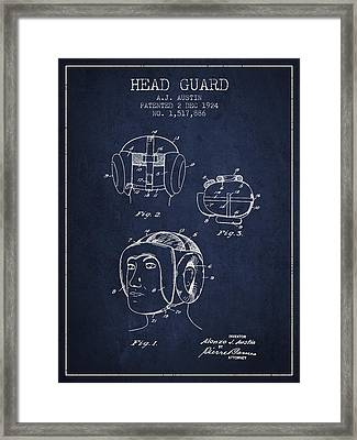 Head Guard Patent From 1924 - Navy Blue Framed Print by Aged Pixel