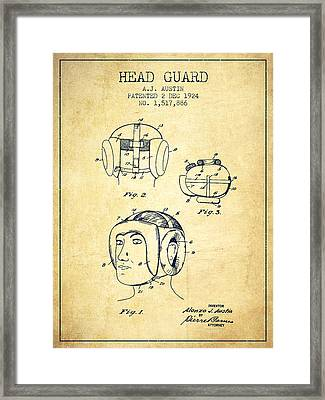 Head Guard Patent From 1924 - Vintage Framed Print by Aged Pixel