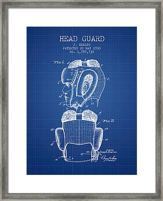 Head Guard Patent From 1930 - Blueprint Framed Print by Aged Pixel