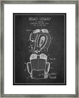 Head Guard Patent From 1930 - Charcoal Framed Print by Aged Pixel