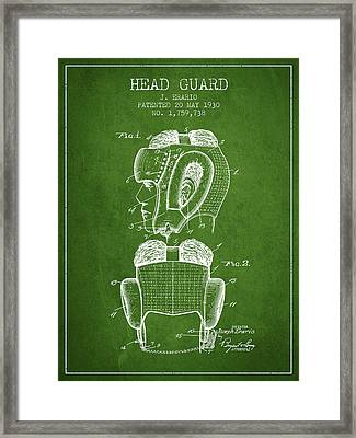 Head Guard Patent From 1930 - Green Framed Print by Aged Pixel