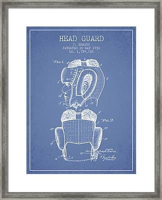 Head Guard Patent From 1930 - Light Blue Framed Print by Aged Pixel