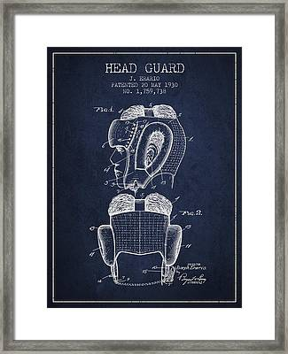 Head Guard Patent From 1930 - Navy Blue Framed Print by Aged Pixel