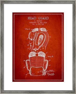 Head Guard Patent From 1930 - Red Framed Print by Aged Pixel