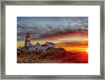 Dawn Breaking At Head Harbor Lighthouse Framed Print by Lee Kappel