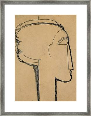 Head In Profile Framed Print by Amedeo Modigliani