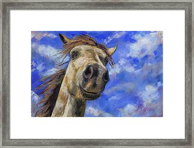 Framed Print featuring the pastel Head In The Clouds by Billie Colson
