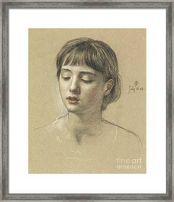 Head Of A Girl, 1883 Framed Print by Edward John Poynter