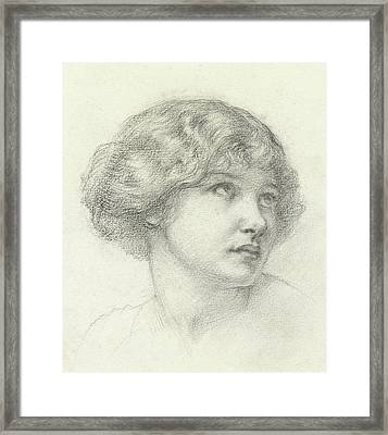 Head Of A Girl  Framed Print by Walter John Knewstub