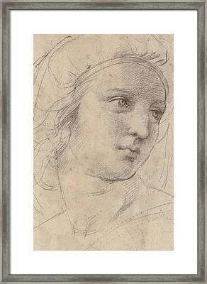 Head Of A Muse Framed Print by Raphael