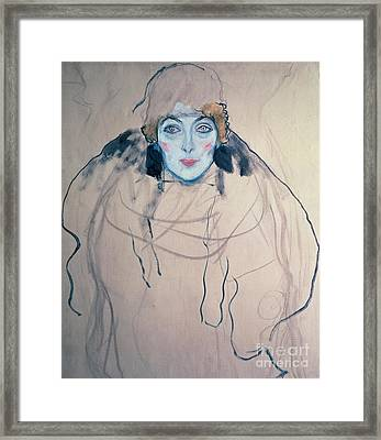 Head Of A Woman Framed Print by Gustav Klimt
