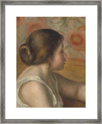 Head Of A Young Girl Framed Print by Pierre Auguste Renoir