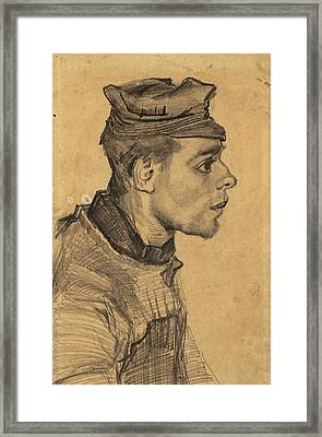 Head Of A Young Man, 1884-85 02 Framed Print by Vincent Van Gogh
