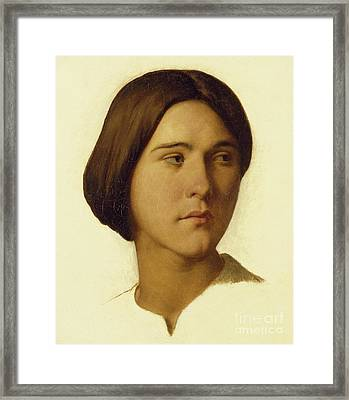 Head Of A Young Woman Looking To Her Left, 19th Century Framed Print by Hippolyte Flandrin