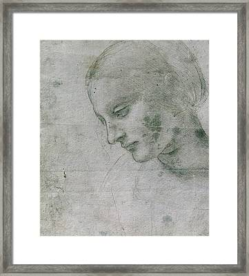 Head Of A Young Woman Or Head Of The Virgin Framed Print