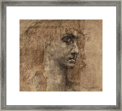 Head Of An Angel Framed Print by Mikhail Aleksandrovich Vrubel