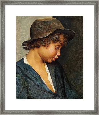 Head Of An Italian Boy Framed Print by Carl Bloch