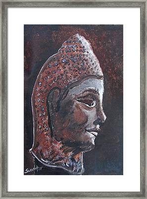 Framed Print featuring the painting Head Of Buddha by Anand Swaroop Manchiraju