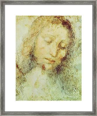 Head Of Christ Framed Print by Leonardo Da Vinci