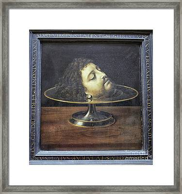 Framed Print featuring the photograph Head Of John The Baptist, 1507, With Frame And Inscription -- By by Patricia Hofmeester