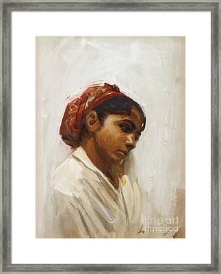 Head Of Spanish Girl Framed Print by Celestial Images