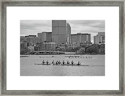 Head Of The Charles. Charles Rowers Black And White Framed Print by Toby McGuire