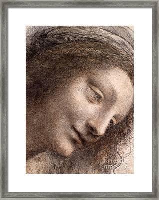 Head Of The Virgin Mary Framed Print by Leonardo Da Vinci