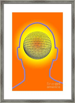 Head With Binary Numbers Framed Print