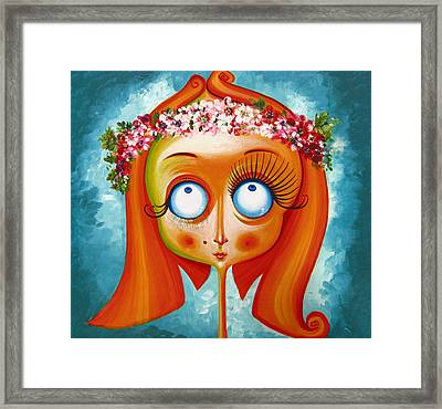 Head With Wreath Of Flowers - Acrylic On Canvas Framed Print by Tiberiu Soos