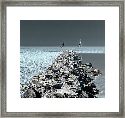 Headed For The Rocks Framed Print
