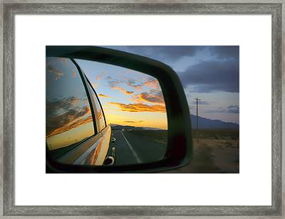 Heading East In The West - Nevada Sunset Framed Print